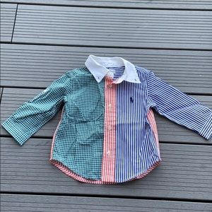 Ralph Lauren multicolored button down shirt. 9 m